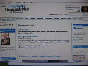 """Internetseite """"Evangelisches Gemeindeblatt für Württemberg"""" Foto: Screenshot"""