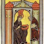Hildegard von Bingen empfängt eine göttliche Inspiration und gibt sie an ihren Schreiber weiter. Miniatur aus dem Rupertsberger Codex des Liber Scivias