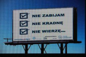 Athesistische Plakatkampagne in Polen. Foto: creenshot