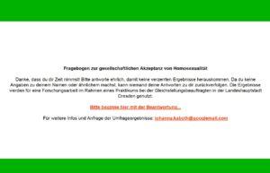 Fragebogen zur gesellschaftlichen Akzeptanz von Homosexualität. Foto: screenshot