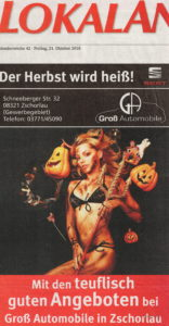 Werbeanzeige aus dem Lokalanzeiger, einer Zeitung für Aue und Schwarzenberg. Foto: Thomas Schneider/agwelt